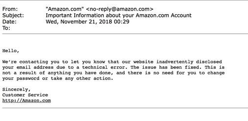 Amazon email announcing leaked emails