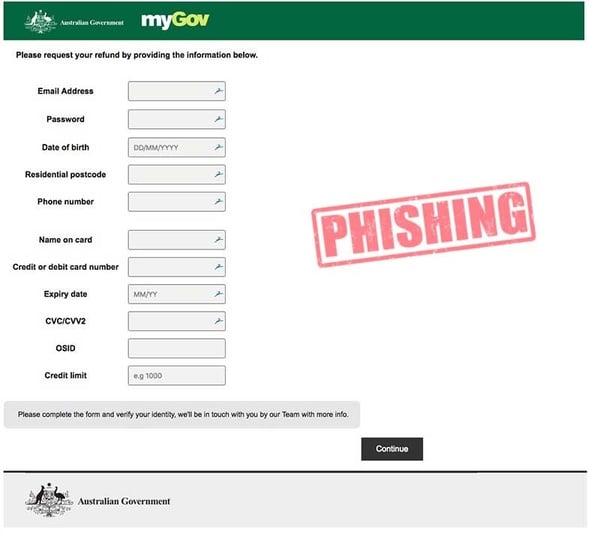 my Gov phishing scam